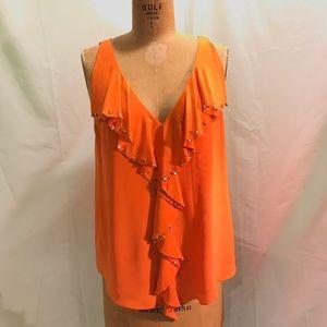 Anthro Leifsdottir Orange silk ruffle tunic top 10